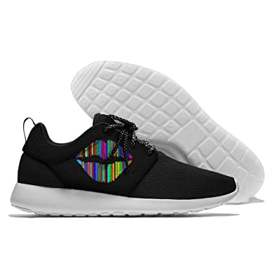 Abstract Lip Rainbow Colourful Men's Fashion Casual Black Shoes