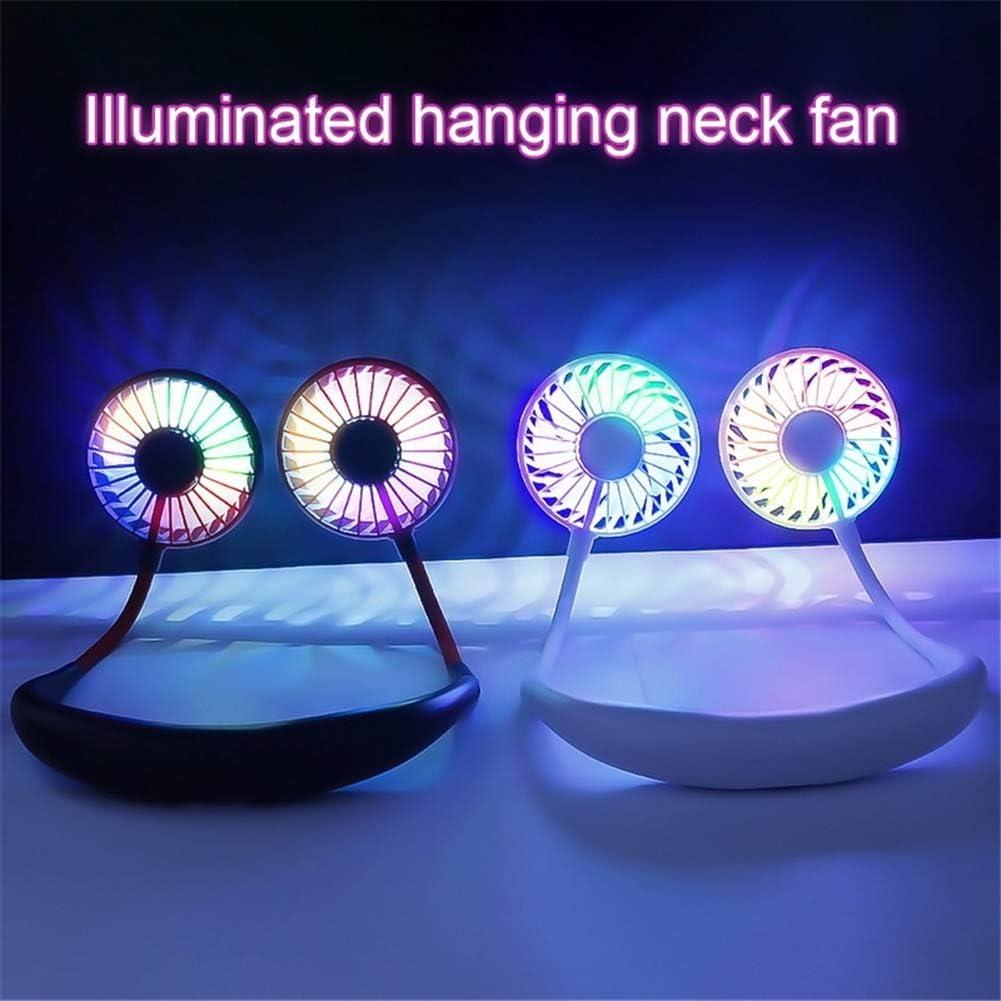 AIMCAE Portable Fan USB Free Wearable Neckband Fan LED Light Aromatherapy Fan Office Travel Outdoor Sports,Black