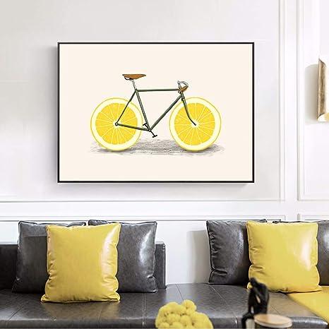 qiumeixia1 Cartoon Fruit Bicycle Wall Art Canvas Prints ...
