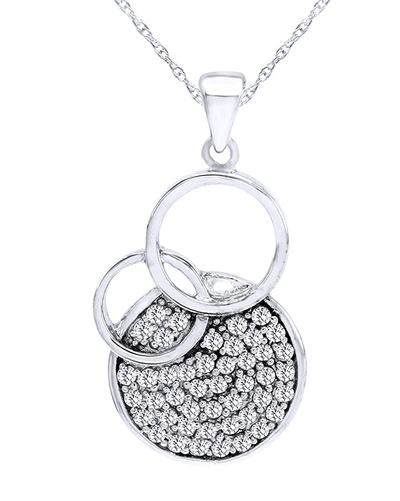 Wishrocks Round Cut White Cubic Zirconia Circle Pendant Necklace in Sterling Silver