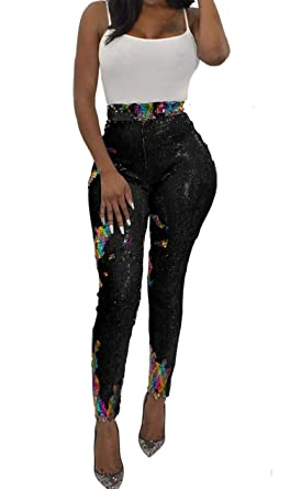 8c60ab8da7eb4 QOCAOFIG Womens Glitter All Over Sequin High Waisted Leggings Long  Trousers,Shiny Bling Tights Party