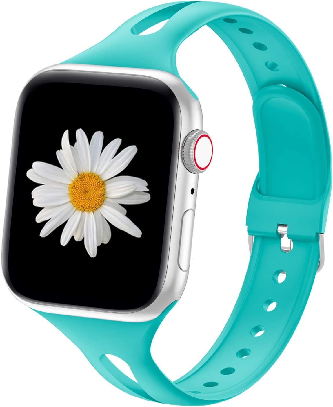 YAXIN Compatible with Apple Watch Bands 38mm 40mm 42mm 44mm, iWatch Bands Women Men Slim Thin Narrow Silicone Sport Bands Replacement Wristbands for Apple Watch SE, Series 6 5 4 3 2 1, Teal