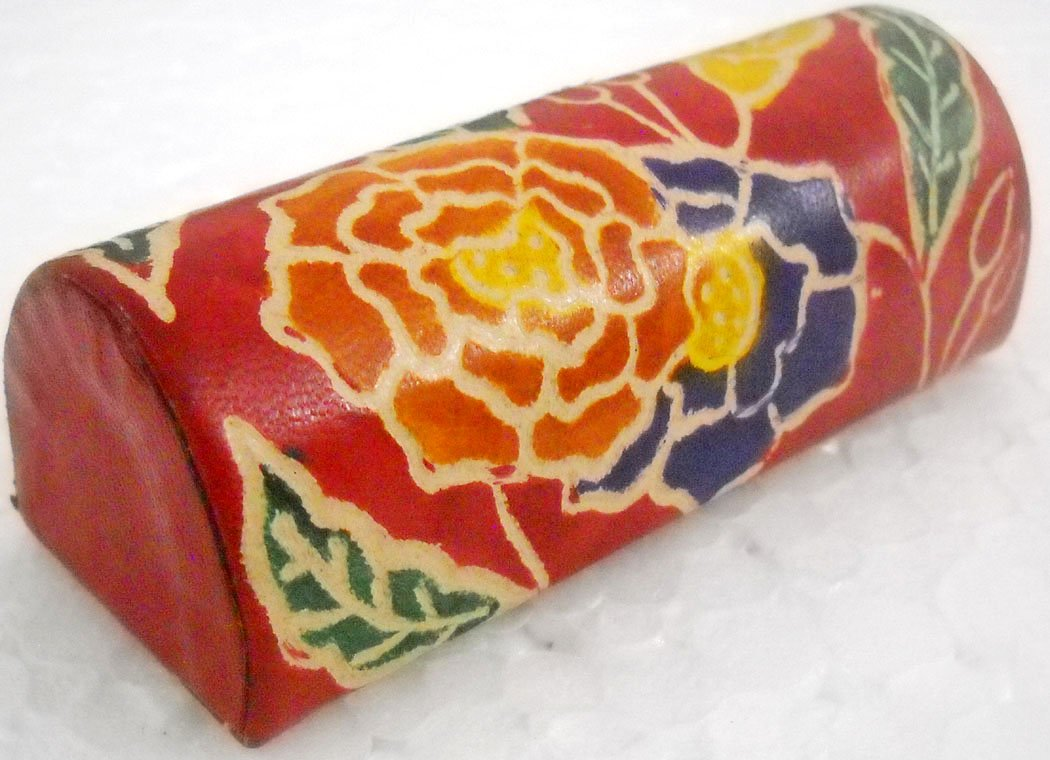 Women's Hand Embossed Colorful Floral Orange Design Lipstick case with Mirror-Shantiniketan Pure Leather