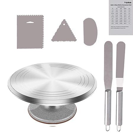 Tortenplatte Drehbar Aluminiumlegierung, Yizish 12-Zoll-Tortenständer Kuchen Drehteller mit Edelstahl-Glasurspatel (2 Stück)