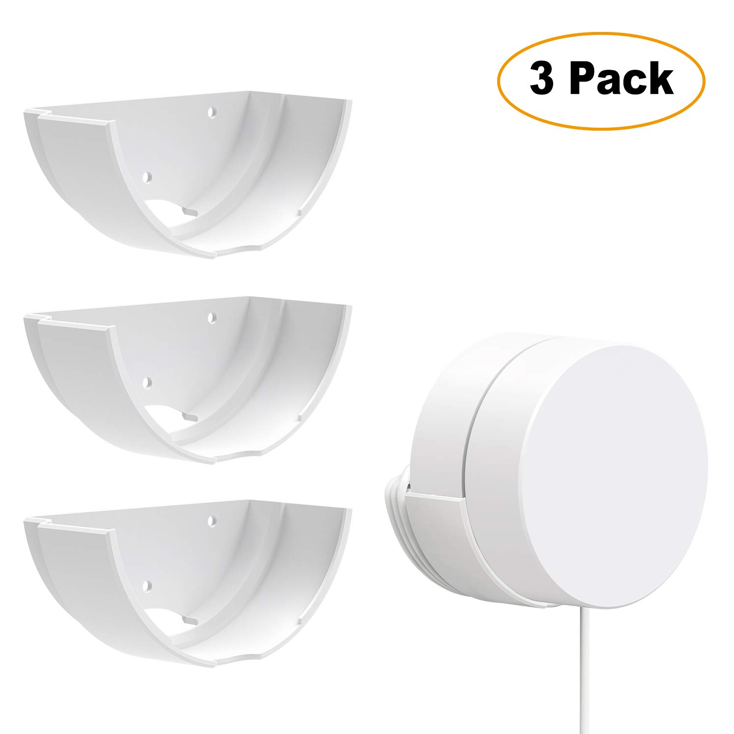 Google WiFi 3 Pack Wall Mounts, Google Router Mounting Bracket, Best Design for Winding Power Cord, Fits Snugly to Google WiFi 3 Pack by Mrount
