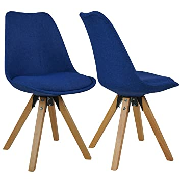 Chaise Salle à Manger Lot De 2 En Tissu Bleu Design Retro Chaise