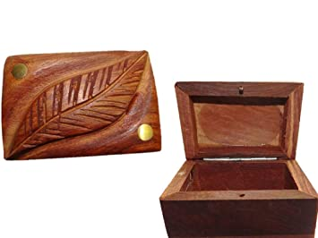 Amazon Com Urc Online Small Wooden Box With Leaf Design Engraved