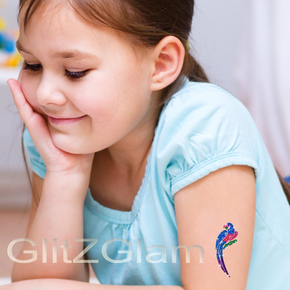 Safari'o Glitter Tattoo Kit - Safari, Zoo & Jungle Animals Body Art - HYPOALLERGENIC and DERMATOLOGIST TESTED!
