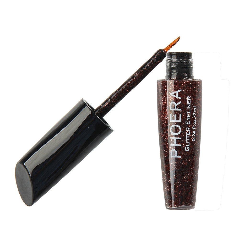 10 Colors Makeup Metallic Shiny Eyeshadow Hosamtel Waterproof Glitter Liquid Eyeliner (Brown)