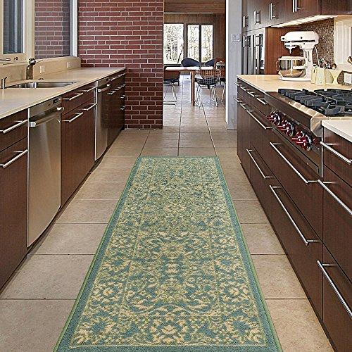 Mahal Runner Rug - Diagona Designs Contemporary Oriental Mahal Design Non-Slip Kitchen / Bathroom / Hallway Area Rug Runner, 20'' W x 59'' L, Teal / Beige