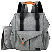 HapTim Multi-function Baby Diaper Bag Backpack W/Stroller Straps,Large Capacity Nappy Changing Bag for Moms & Dads (Gray-5279)