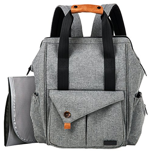 Large Changing Bag - HapTim Multi-function Baby Diaper Bag Backpack W/ Stroller Straps,Large Capacity Nappy Changing Bag for Moms & Dads (Gray-5279)