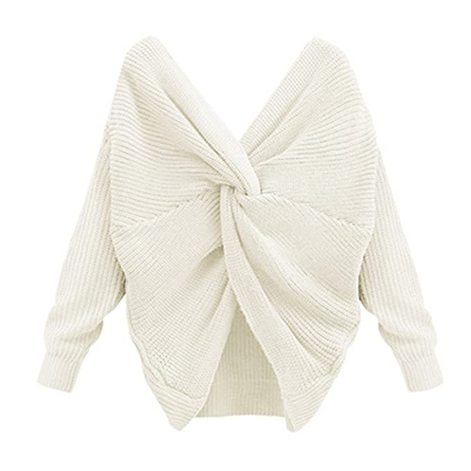 Suéter Mujer Otoño - Suéter Cuello V Profundo Camisa Manga Larga Blusas Batwing Tops Nudo Cruzado