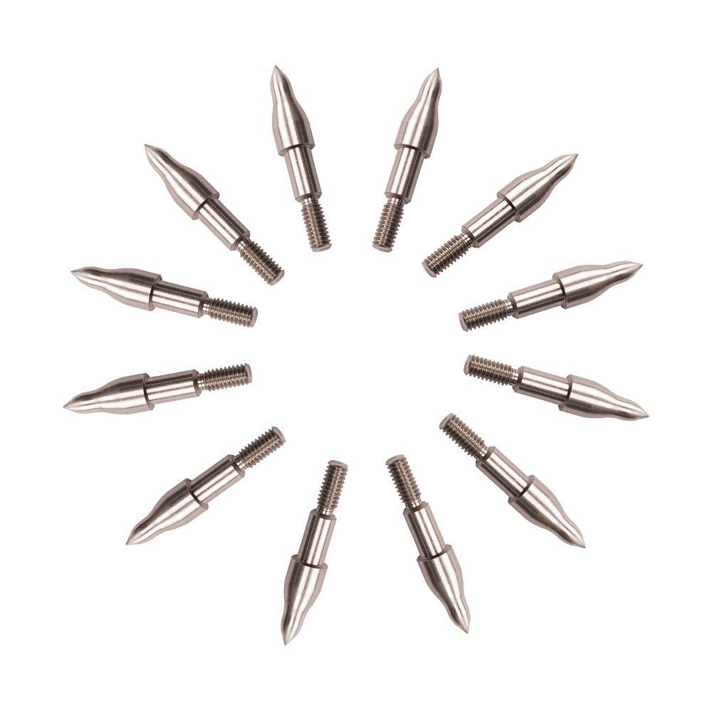 ORRANNI Archery Field Points,11/32'' Outside Diameter,125 Grains,Stainless Steel 8-32 UNC Screw in Combo Archery Field Tips(1 Dozen) by ORRANNI