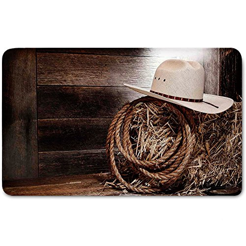 Memory Foam Bath Mat,Western,American West Rodeo Hat with Traditional Ranching Robe on Wooden Ground Folk Art Photo DecorativePlush Wanderlust Bathroom Decor Mat Rug Carpet with Anti-Slip - Soft Chenille Robe