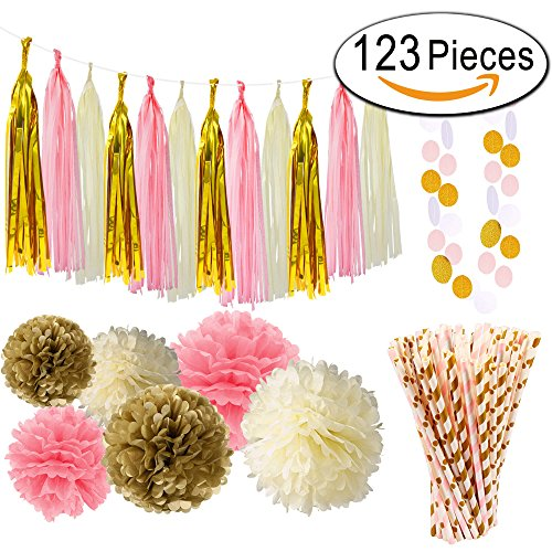 Paxcoo 123 Pcs Pink and Gold Baby Shower Decorations for Girls (Baby Shower Girl Decorations)