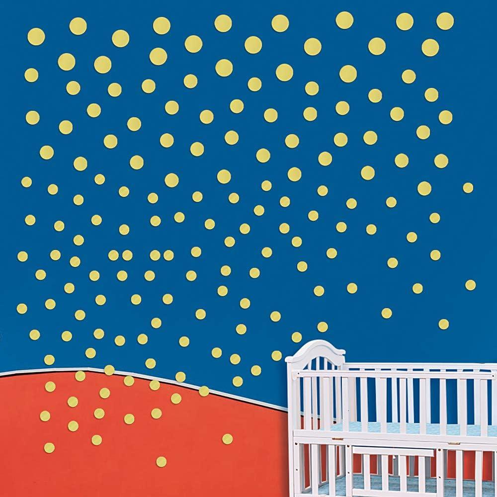 MEJOSER 180PCS Autocollants /à pois-Or Stickers Muraux Autocollant Mural pour Enfants Chambre Salon Bureau Resto Boutique Decoration