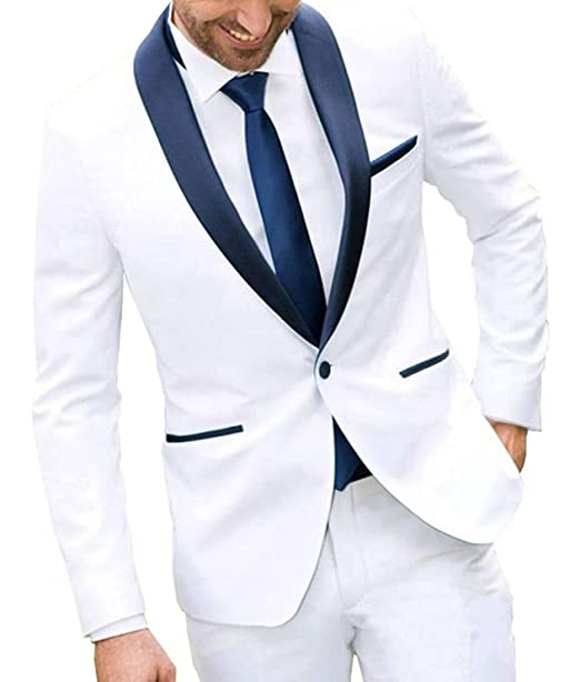 LoveeToo Mens One Button White Two Piece Wedding Groom Suit ...