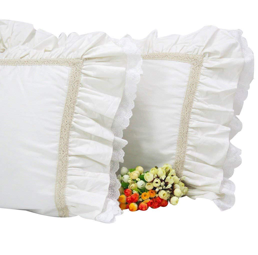 Queen's House Pillowcase Off-White Queen Shams Set of 2-A Queen's House 170615-white shams-A-L