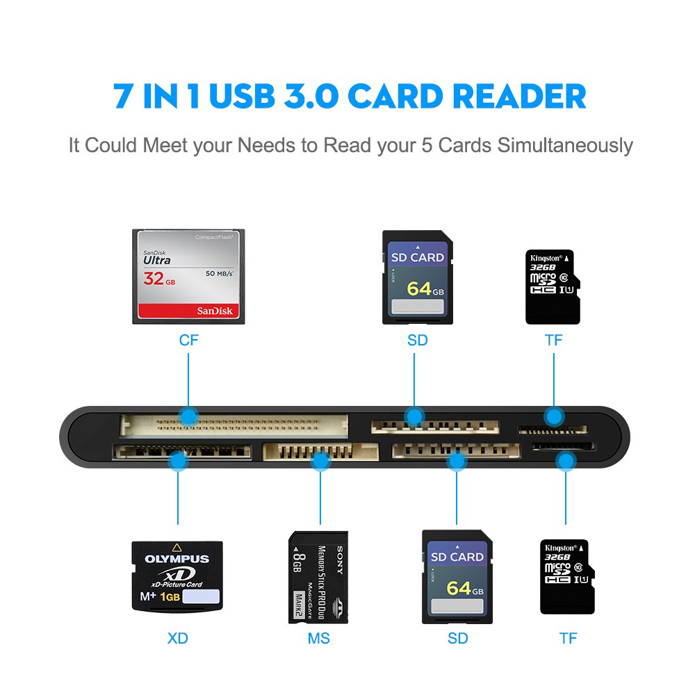 Rocketek USB 3.0 Memory Card Reader/Writer for CF Card, xD Card, SD Card, Micro SD Card, MS Card, with a 13cm USB Cable design - 5 cards read ...