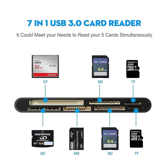 Rocketek USB 3.0 Memory Card Reader/Writer for CF Card, xD Card, SD Card, Micro SD Card, MS Card, with a 13cm USB Cable design - 5 cards read ...