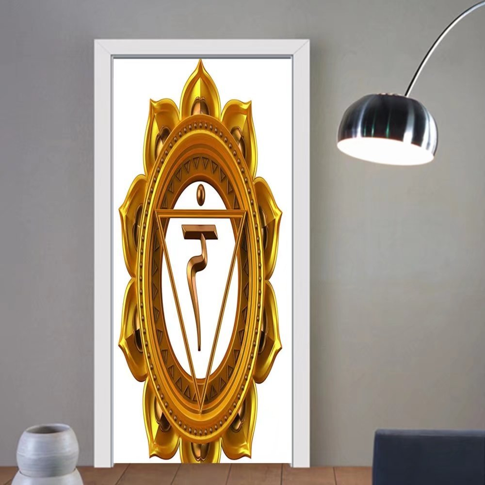 Gzhihine custom made 3d door stickers Decor Symbol in Flower Rounded Original Design Spiritual Power Life Force Image Gold For Room Decor 30x79
