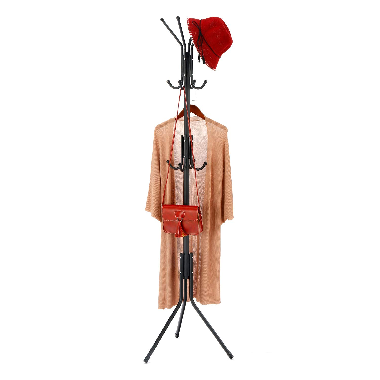 SUNPACE Stand Hall Tree Black Coat Rack with Base Metal SUN006 Decorative Hat Coat Racks Free Standing 12 Hooks for Jacket Umbrella Bedroom,Entryway,Office