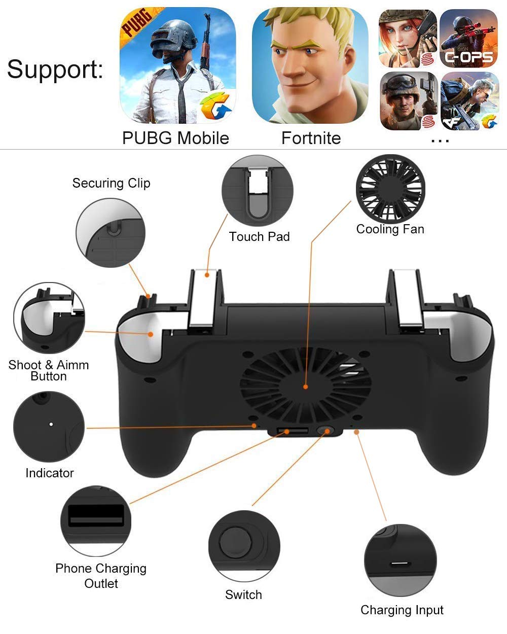 Mobile Game Controller [Upgrade Version] Mobile Gaming Trigger for PUBG/Fortnite/Rules of Survival Gaming Grip and Gaming Joysticks for 4.5-6.5inch Android iOS Phone by SVZIOOG (Image #4)