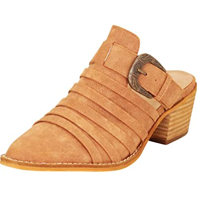 Amazon.com | Cambridge Select Women's Pointed Toe Strappy Western Buckle Slip-On Chunky Block Mid Heel Mule | Mules & Clogs