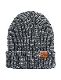 W.L Winter Warm Knit Criss-Cross fitting Skull cap beanie Fleece Lining Thick