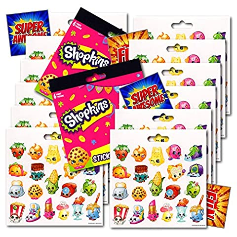 Shopkins Party Favors Stickers Set Bundled with Separately Licensed Specialty GWW Reward Stickers