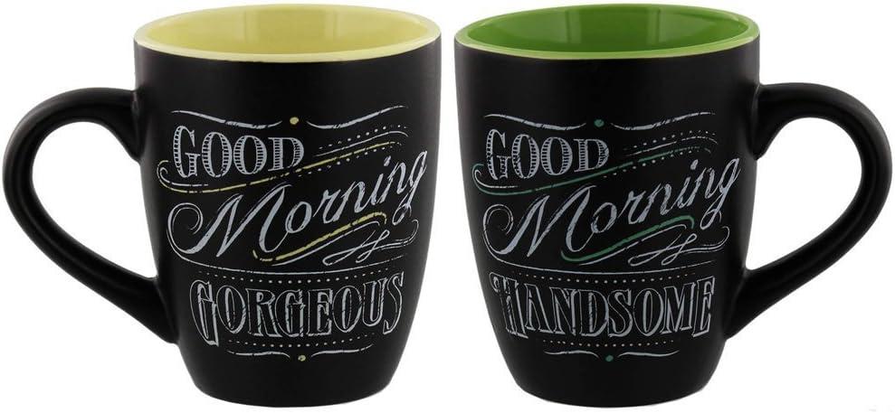 Amazon Com Giftcraft Chalk Talk Mugs Good Morning 2 Asst Kitchen Dining