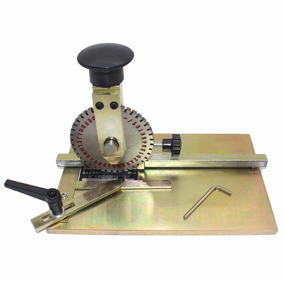 T-king Manual Marking Machine Deboss Embossing Machine -Dog Tag Metal Plate Stamping Embosser with 4mm Print Wheel by T-king
