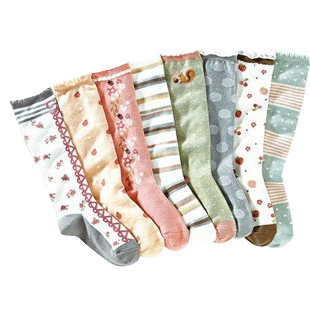 COCO Little Girls Cotton Toddlers Flower Soft Socks 1-9Y Knee Striped socks,8 pairs