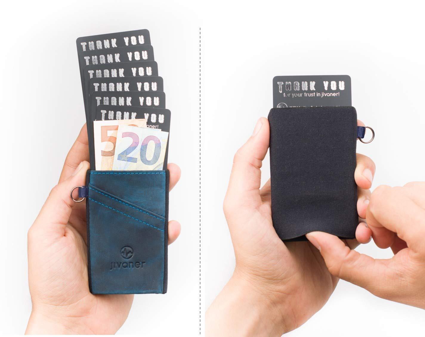 JIVANER Ultra Slim  Portafoglio uomo piccolo e suttile in pelle - Porta  carte di credito minimalista con protezione RFID - Elegante mini portamonete  ... 9211a8c6bf3
