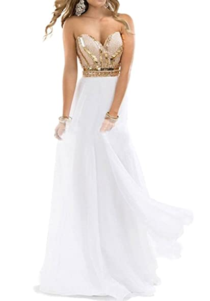 White prom dress with gold sequins long dress