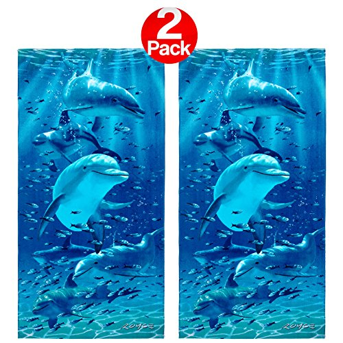 - Kaufman Sales - Twister Dolphins Beach Towel (106062) - 2 Pack Set