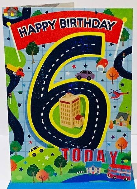 Tarjeta de cumpleaños por seis (6) años libre chico - 1st ...