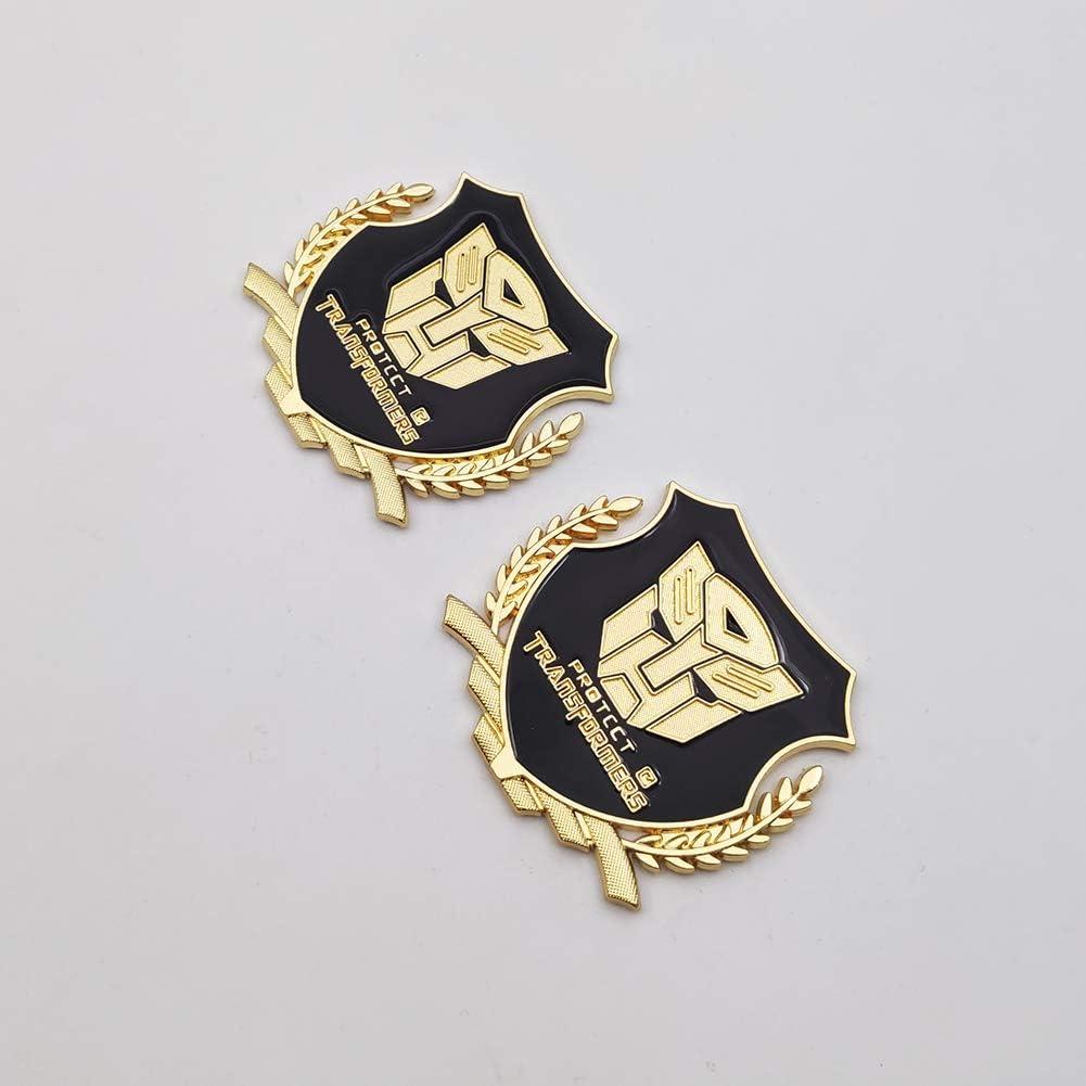 Silver 2X Metal Transformers Autobots Logo Emblem Car Side Fender Badge 3D Door Sticker Auto Decal