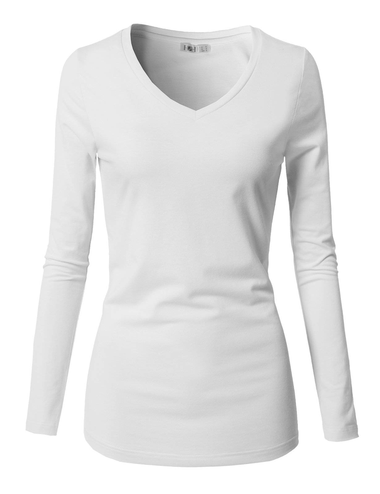 H2H Women's Basic Fitted Soft Lightweight 3/4 Sleeve Deep V Neck T Shirt Tee White US L/Asia L (CWTTL0250)