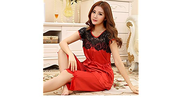 WXIN Pijamas De Mujer/Seda De Hielo/Prendas De Abrigo/Chiffon/Niñas/Conjuntos De Pijama/Xl/Big Red: Amazon.es: Hogar
