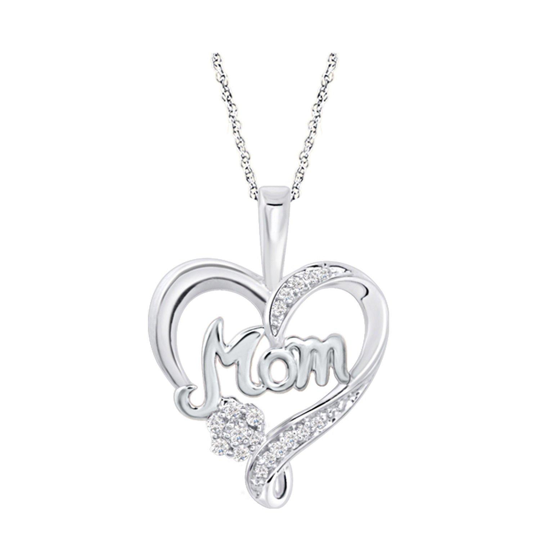 Triostar 925 Sterling Silver Round Cut Diamond 14K White Gold Over Heart Pendant 18 Chain
