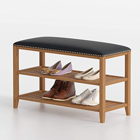 3 Tier Natural Bamboo Wooden Shoe Rack Bench Organiser Stand Storage Shelf Seat