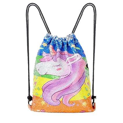 e3df29d4c543 Amazon.com | Cactus Mermaid Sequin Drawstring Unicorn Backpack Bag ...