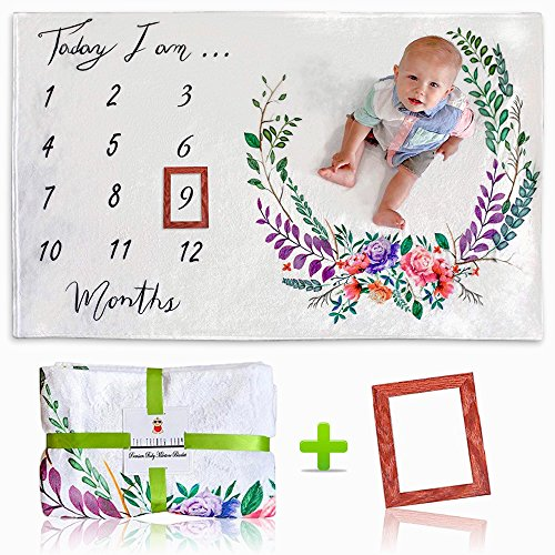 [Upgrade Version] Premium Monthly Baby Milestone Blanket w/Bonus Wooden Style Frame | Ultra Soft (Upgraded 250gsm) Fleece Blanket | Large 60x40 Size | Best Newborn or Baby Shower Gift for ()