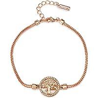 Mestige MSBR3328 Rose Gold Plated Maple Tree of Life Charm Bracelet for Women