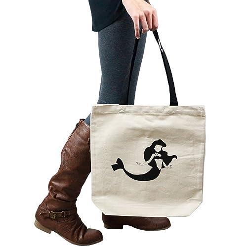 7ce1660050 Amazon.com  Mermaid Floating Outline Princess Girl Tote Handbag Shoulder  Bag Purse  Shoes