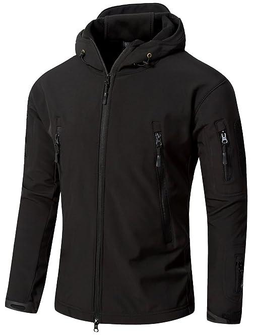 TACVASEN Military Men's Softshell Fleece Jacket Outdoor Coat with ...