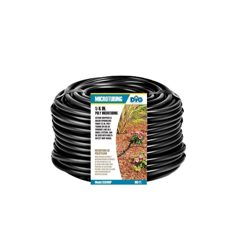 Dig B38100P 1/4'' x 50' Poly Black Micro Tubing