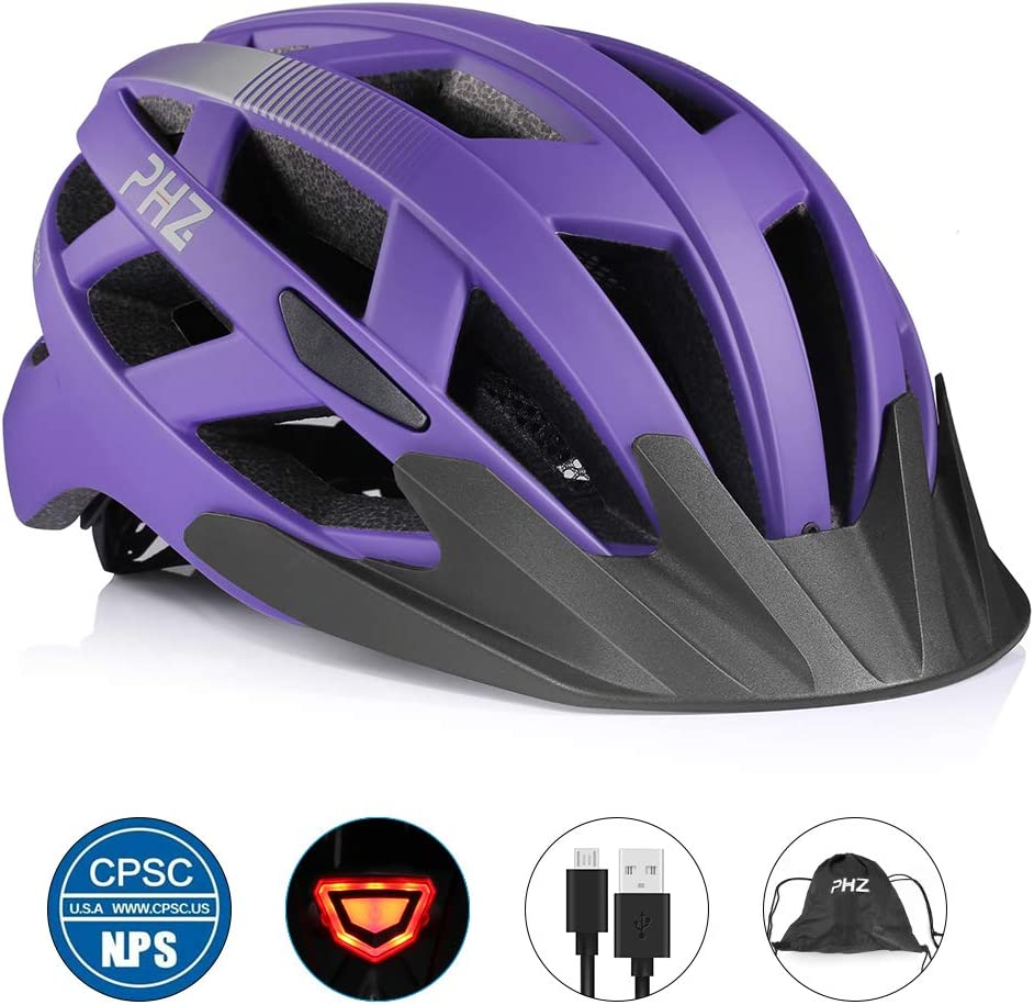 PHZ. Adult Bike Helmet CPSC Certified with Rechargeable USB Light, BicycleHelmet for Men Women Road Cycling & Mountain Biking with Detachable Visor